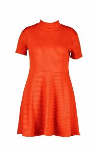 Womens Plus Ribbed Hem Neck Skater Dress - orange - 20, Orange
