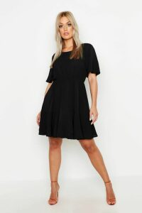 Womens Plus Tiered Crepe Smock Dress - black - 20, Black