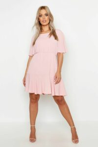Womens Plus Tiered Crepe Smock Dress - pink - 20, Pink