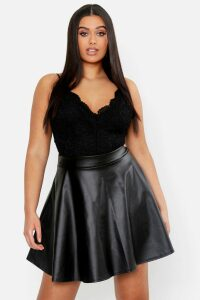 Womens Plus PU Skater Skirt - black - 20, Black