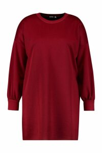 Womens Plus Oversized Sweat Dress - red - 20, Red