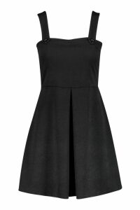 Womens Pleat Front Pinafore Dress - black - 14, Black