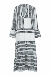 Womens Aztec Smock Maxi Dress - white - S, White