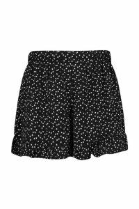 Womens Plus Heart Polka Dot Flippy Short - black - 16, Black