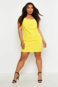 Womens Plus Cowl Neck Woven Slip Dress - yellow - 20, Yellow