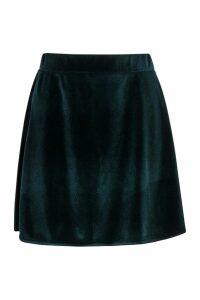 Womens Velvet A Line Mini Skirt - green - 6, Green