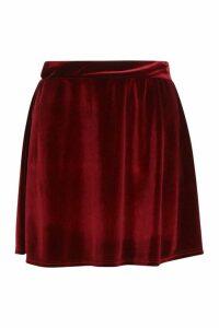 Womens Velvet A Line Mini Skirt - red - 14, Red