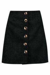 Womens Baby Cord Button Through Skirt - black - M, Black