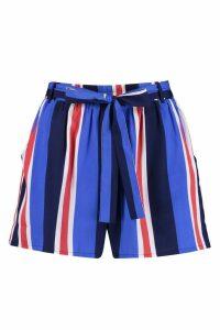 Womens Striped Tie Belt Shorts - blue - 8, Blue