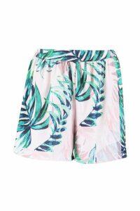 Womens Palm Print Flippy Shorts - pink - 8, Pink