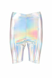 Womens Holographic Cycling Shorts - grey - 8, Grey
