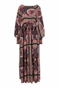 Womens Shirred Waist Scarf Print Maxi Dress - blue - 16, Blue