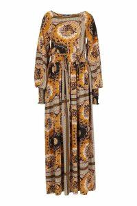 Womens Shirred Waist Scarf Print Maxi Dress - Orange - 16, Orange