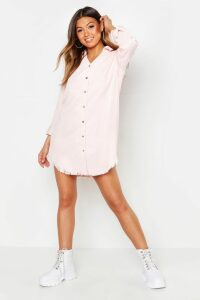 Womens Distressed Baby Cord Shirt Dress - Pink - 14, Pink