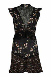 Womens High Neck Lace Insert Mix Print Skater Dress - black - 16, Black