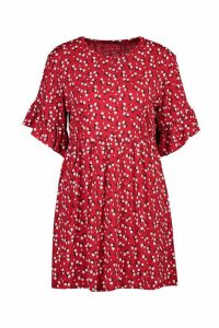 Womens Ditsy Floral Smock Dress - red - 14, Red