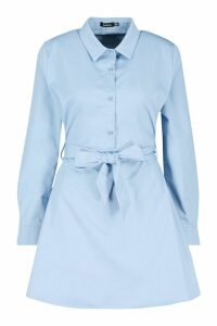 Womens Woven Belted Shirt Dress - blue - 14, Blue