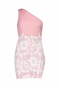 Womens One Shoulder Lace Bodycon Dress - pink - 14, Pink