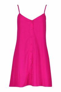 Womens Button Through Woven Cami Shift Dress - Pink - 16, Pink