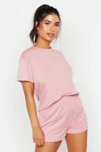 Womens Basic T-Shirt & Short Set - pink - 16, Pink