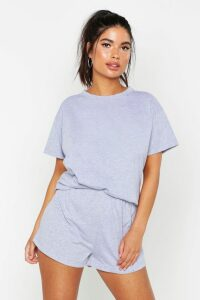Womens Basic T-Shirt & Short Set - grey - 10, Grey