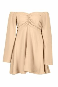 Womens Plus Puff Sleeve Ruched Detail Skater Dress - brown - 22, Brown
