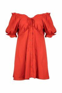 Womens Plus Ruffle Button Down Skater Dress - orange - 20, Orange