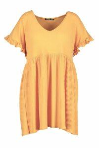 Womens Plus Soft Rib Ruffle Smock Dress - yellow - 18, Yellow