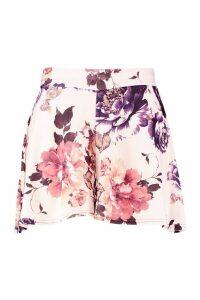Womens Plus Floral Print Flippy Shorts - white - 22, White