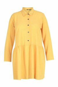 Womens Plus Peplum Hem Shirt Dress - yellow - 18, Yellow