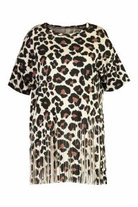 Womens Plus Leopard Tassel Beach Dress - brown - 18, Brown