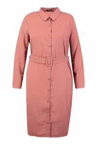 Womens Plus Self Belt Shirt Dress - orange - 16, Orange