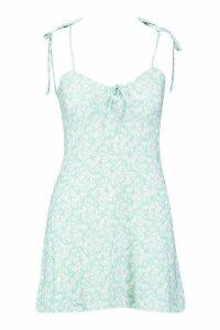 Womens Petite Bust Cup Detail Fit & Flair Sun Dress - green - 14, Green