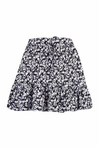 Womens Petite Tie Waist Ruffle Skater Skirt - black - 10, Black