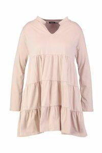 Womens Plus Cotton Ruffle Smock Dress - beige - 18, Beige