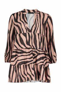 Womens Petite Tiger Print Smock Dress - brown - 10, Brown