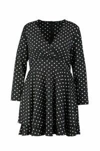 Womens Plus Polka Dot Plunge Frill Skater Dress - black - 20, Black
