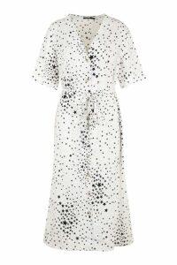 Womens Plus Star Print Button Detail Midi Dress - white - 16, White