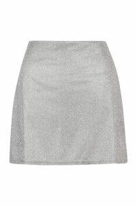Womens Petite Glitter Sparkle A-Line Mini Skirt - grey - 14, Grey
