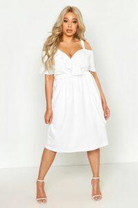 Womens Plus Plunge Ruffle Belt Midi Dress - white - 20, White