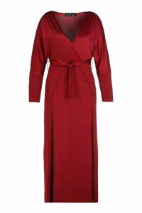 Womens Plus Slinky Plunge Split Maxi Dress - red - 20, Red