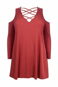 Womens Plus Ribbed Open Shoulder Swing Dress - Brown - 22, Brown