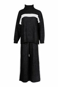 Womens Premium Knitted Sports Athleisure Set - black - M, Black
