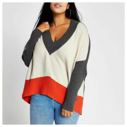 River Island Womens Plus Beige colour block batwing sleeve jumper