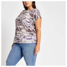 Womens Plus Purple tie dye boat neck T-shirt