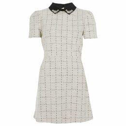 River Island Womens Petite Cream boucle embellished dress