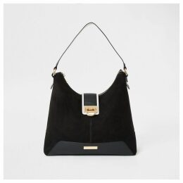 River Island Womens Black lock front slouch bag