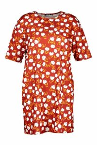 Womens Plus Floral Cap Sleeve T-shirt Dress - red - 20, Red
