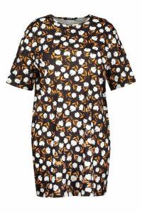 Womens Plus Floral Cap Sleeve T-shirt Dress - black - 16, Black