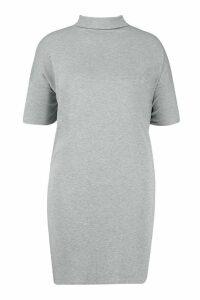 Womens Plus High Neck Oversized T-Shirt Dress - grey - 16, Grey